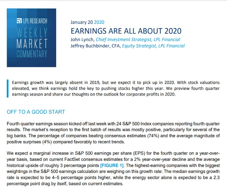 Assessing Geopolitical Risk   Weekly Market Commentary   January 20, 2020