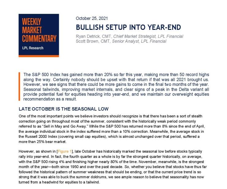 Bullish Setup Into Year-End   Weekly Market Commentary   October 25, 2021